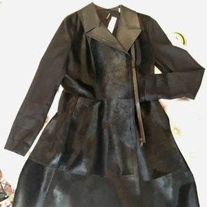 Elie Tahari NWT black Calf Hair Med coat dress